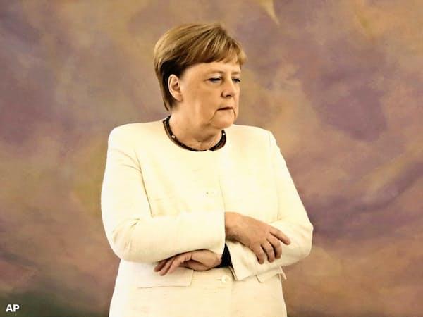 メルケル首相は全身が震える発作に見舞われた=AP