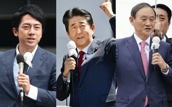 応援演説する(左から)小泉進次郎氏、安倍首相、菅官房長官