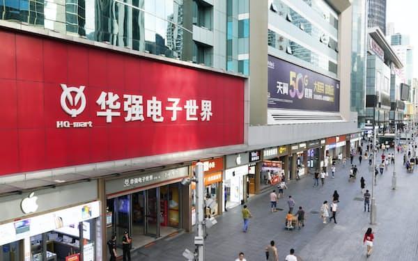 深圳・華強北の電気街(6月、中国)