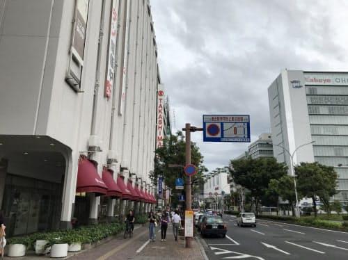 再開発やホテルの建設増加が上昇の追い風に(岡山県の最高路線価地点の岡山高島屋前)