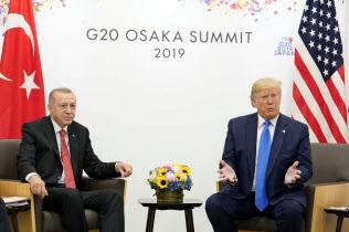 29日、G20大阪サミットに合わせて会談したトランプ氏(右)とエルドアン氏=ロイター