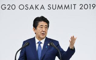 G20大阪サミットが閉幕し、記者会見する安倍首相(29日午後、大阪市住之江区)
