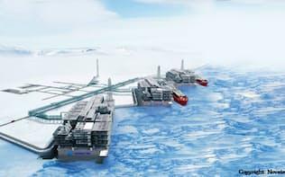 ロシア北極圏のLNGプロジェクト「アークティック2」は建設コストを抑えてコスト競争力を高める(写真はイメージ、ノバテク提供)