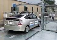 機械式駐車場はレベル4の自動運転車に対応した(1日、群馬県前橋市)