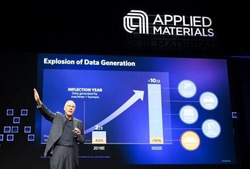 データ量の拡大と半導体装置の需要について講演するアプライドマテリアルズのディッカーソンCEO(2018年7月、米サンフランシスコ)