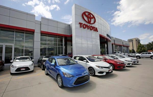 トヨタの「乗用車」販売台数は前年同期比7.7%減少した(米ユタ州の販売店)=AP