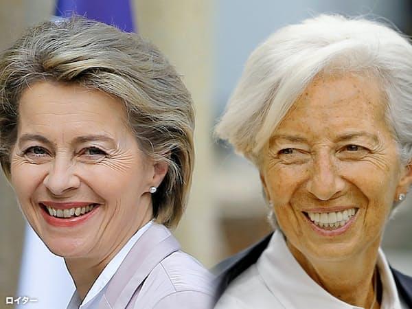 ECB総裁に決まったラガルドIMF専務理事(右)と欧州委員長に決まったフォンデアライエン独国防相=ロイター