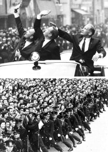 アポロ11号の3人の宇宙飛行士が来日し、東京・銀座をパレード。12万人が沿道を埋め尽くした(1969年11月)=共同