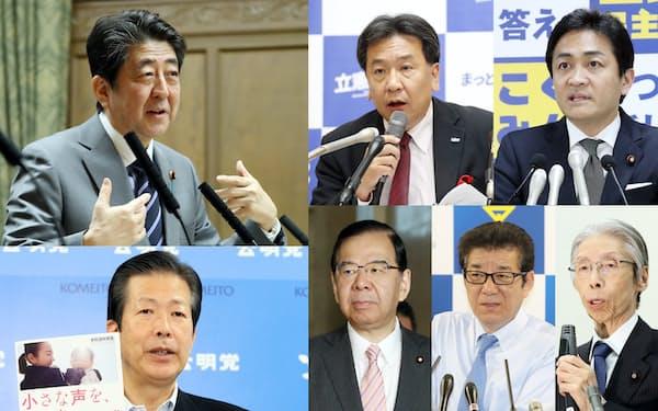 (左上から時計回りに)安倍首相、立憲民主党の枝野代表、国民民主党の玉木代表、社民党の又市党首、日本維新の会の松井代表、共産党の志位委員長、公明党の山口代表