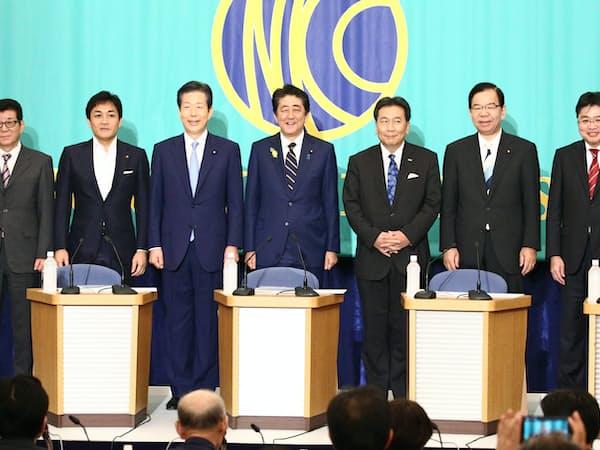 党首討論会では7党首(社民党は代理)が互いに質問をぶつけ合うなど論戦を繰り広げた(日本記者クラブにて)。