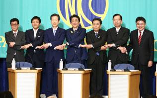 日本記者クラブの党?#23376;?#35542;は年金論戦が白熱した(3日)