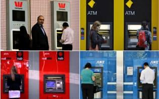 オーストラリアの四大銀行は変革を迫られている(各行のATM。左上から時計回りに、ウエストパック、コモンウェルス、ANZ、ナショナル・オーストラリア)=ロイター