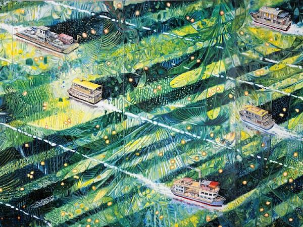 「6隻のシャラナ」(2014年、油彩、カンバス、227×555センチ)