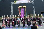竣工式典。八戸市の小林真市長や融資した金融機関の代表らが駆けつけた(6月26日、八戸市南郷地区のはちのへワイナリー)