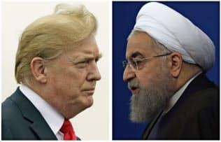 トランプ米大統領(左)とイランのロウハニ大統領=AP