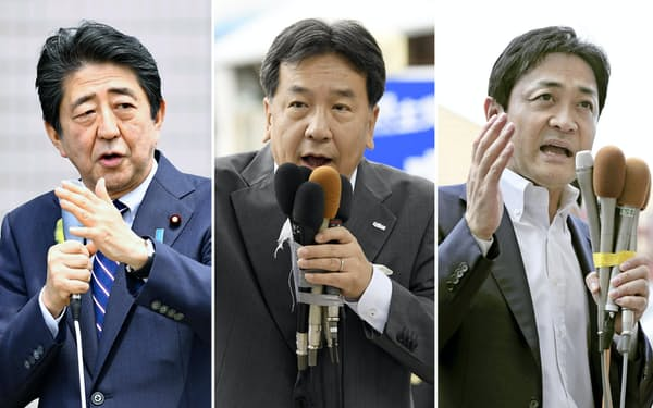 (左から)街頭演説する安倍首相、立憲民主党の枝野代表、国民民主党の玉木代表(5日)=共同