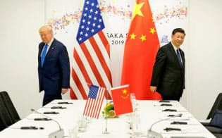 米中は貿易問題の隔たりが大きい(6月29日、大阪での首脳会談)=ロイター