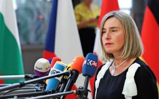 EUはイランに核合意を守るよう求めた(モゲリーニ外交安全保障上級代表)=ロイター