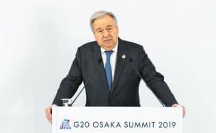 グテレス事務総長(6月、大阪)=国連提供