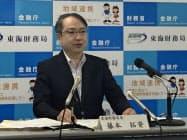 就任会見する東海財務局の藤本拓資局長(10日、名古屋市)
