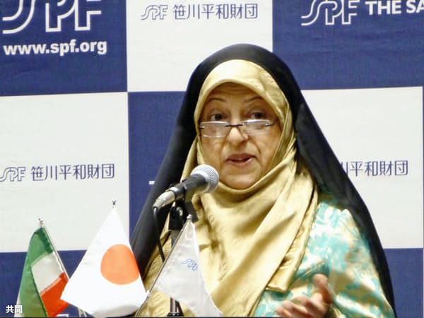 東京都内で講演するイランのエブテカール副大統領(6月27日)=共同