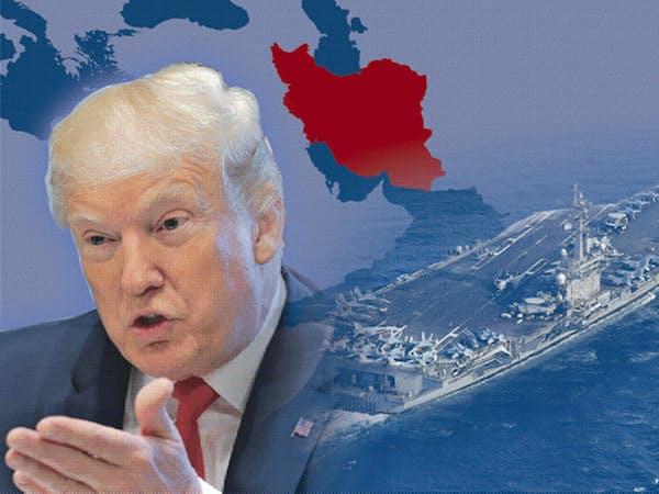 イラン沖などで民間船舶を護衛するため、米政権は有志連合の結成をめざす(コラージュ、米空母の写真は共同)