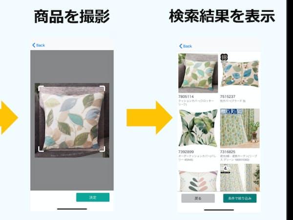 欲しい家具や雑貨の写真をアプリで読み込むと、ニトリの商品の中から類似品などを一覧で表示してくれる
