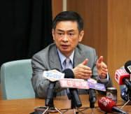 大立光電の林CEO(6月12日、台中市内)