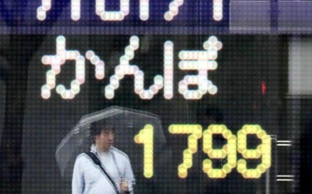 かんぽ生命の株価ボード(12日、東京・八重洲)