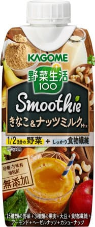 カゴメが9月24日に発売する「野菜生活100 スムージー きなこ&ナッツミルクMix」