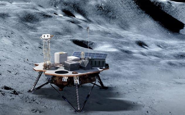 宇宙飛行士の着陸に先行して民間の着陸機で月に機材を運ぶ(NASA提供)