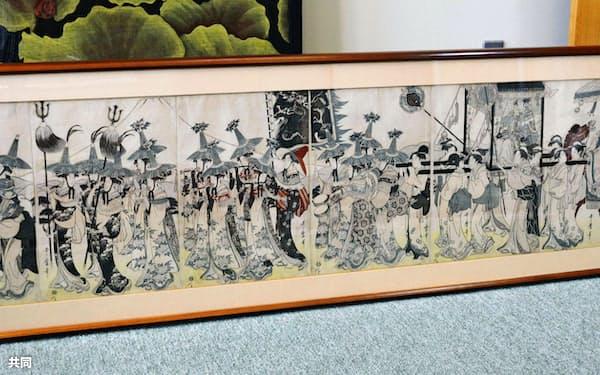 喜多川歌麿の7枚組み版画「見立唐人行列」(12日、栃木県那須塩原市)=共同