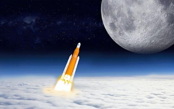 月への有人飛行に使われる大型ロケット「SLS」想像図(NASA提供)