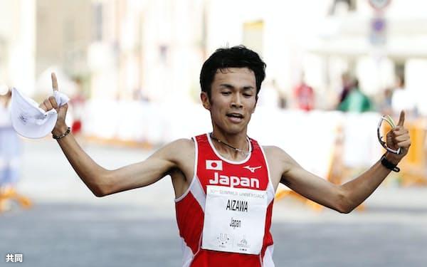 男子ハーフマラソン 優勝した相沢晃(13日、ナポリ)=共同