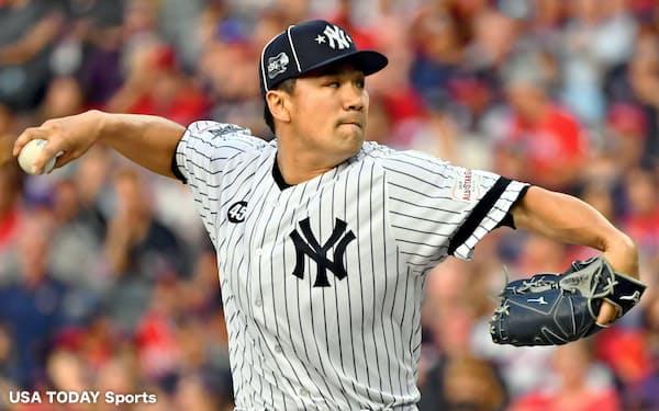 田中は1回無失点と好投し、オールスターゲームで日本投手として初めて勝ち星をあげた=USA TODAY Sports