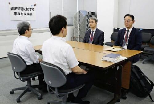 韓国への輸出規制強化も論点となった(12日の日韓事務レベル会合)=共同