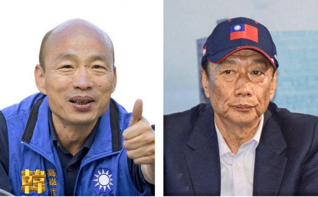 国民党の総統選候補に選ばれた庶民派の韓国瑜・高雄市長(左)と、離党しての出馬も取り沙汰される郭台銘氏(右)=共同