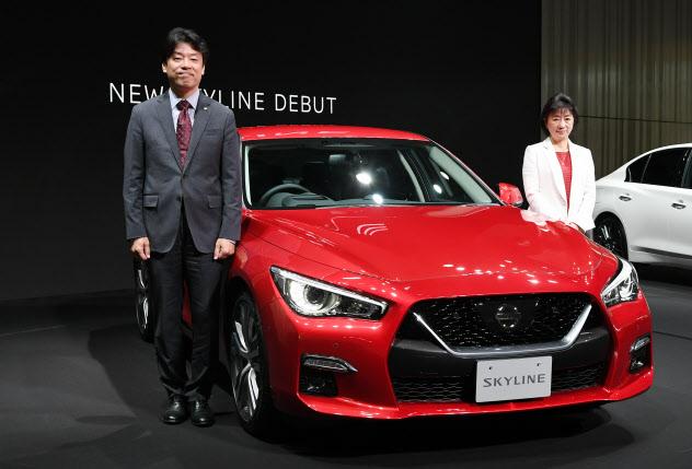 新型「スカイライン」を発表する日産自動車の中畔副社長(左)と星野副社長(16日午前、横浜市西区)