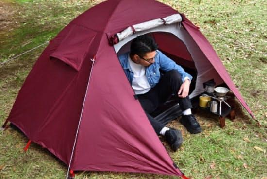 フィールドアの1人用テントの使用イメージ