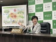 「せんだい都心再構築プロジェクト」について説明する仙台市長の郡和子氏(16日、仙台市)