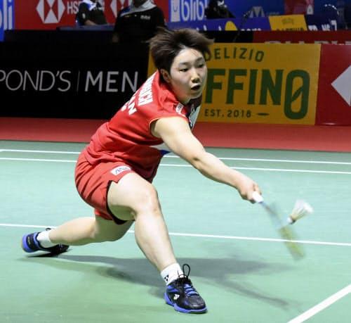 女子シングルスで1回戦を突破した山口茜(16日、ジャカルタ)=共同
