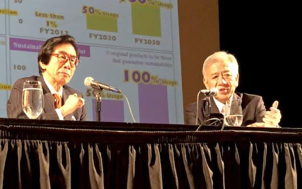 対談するセブン&アイ・ホールディングスの井阪隆一社長(右)と伊藤邦雄・一橋大学特任教授(16日、ニューヨーク)