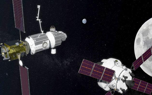月を周回する宇宙ステーションは国際協力で建設する(NASA提供)