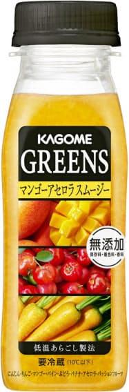カゴメが9月17日に「GREENS」から発売する「マンゴーアセロラスムージー」。保存料、着色料、香料無添加で素材を生かした