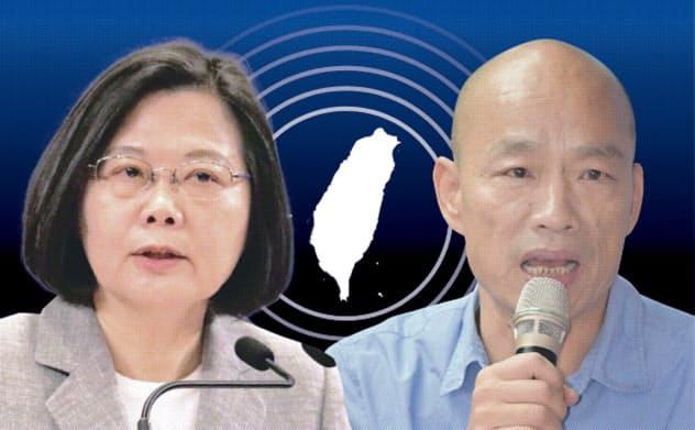 台湾総統選がスタート。蔡英文総統(左)に韓国瑜・高雄市長(右)が挑む