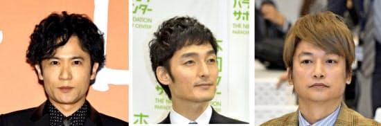(写真左から)稲垣吾郎さん、草彅剛さん、香取慎吾さん=共同