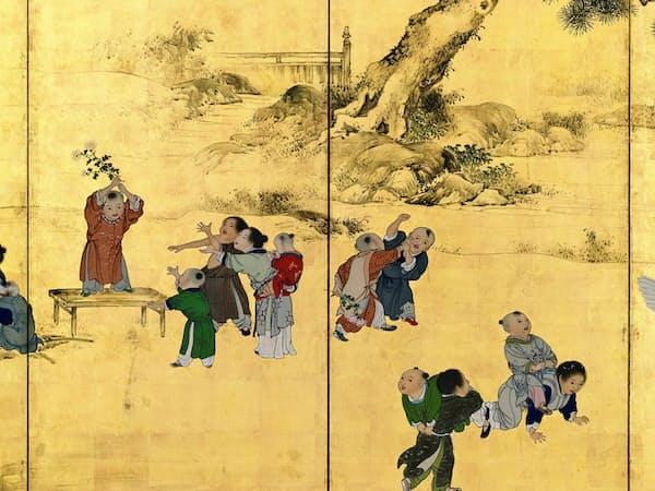 横山華山「唐子図屏風」(左隻中央部分、1826年、個人蔵)
