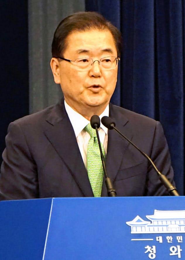 韓国大統領府の鄭義溶国家安保室長=共同