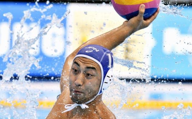 日本―ブラジル 第2ピリオド、ゴールを決める大川(19日、光州)=共同