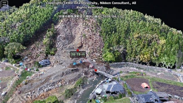 大分・耶馬渓町の土砂崩れを上空から撮影して分析し、復旧作業に役立てた(2018年4月)